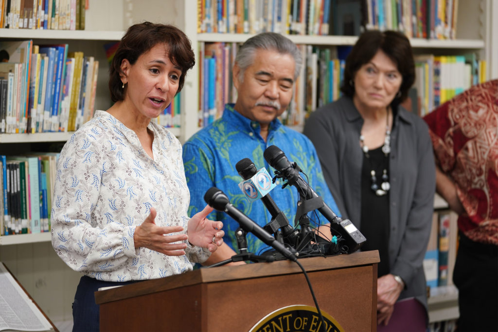 Dept of Education Superintendent Christina Kishimoto during press conference announcing pay increases for special needs teachers.