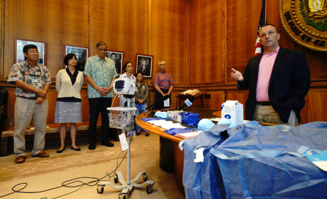 Lieutenant Gov Josh Green at Samoa measle presser announcing medical mission.