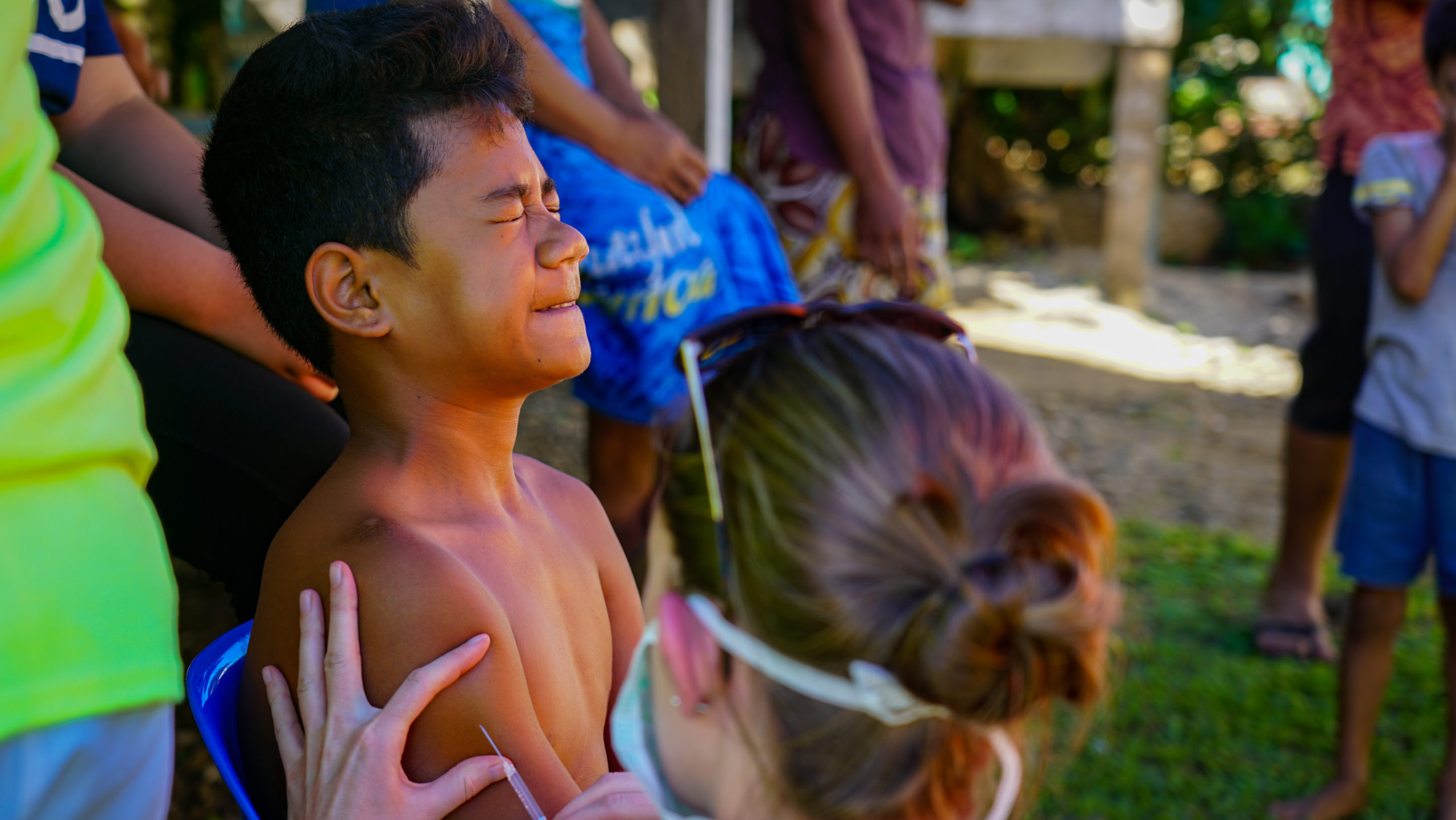 <p><strong>Samoa Shots:</strong> Viane Faletoese squirms as he is given the measles vaccination by a Maui pediatrician. Nearly everyone in Samoa is now vaccinated.</p>