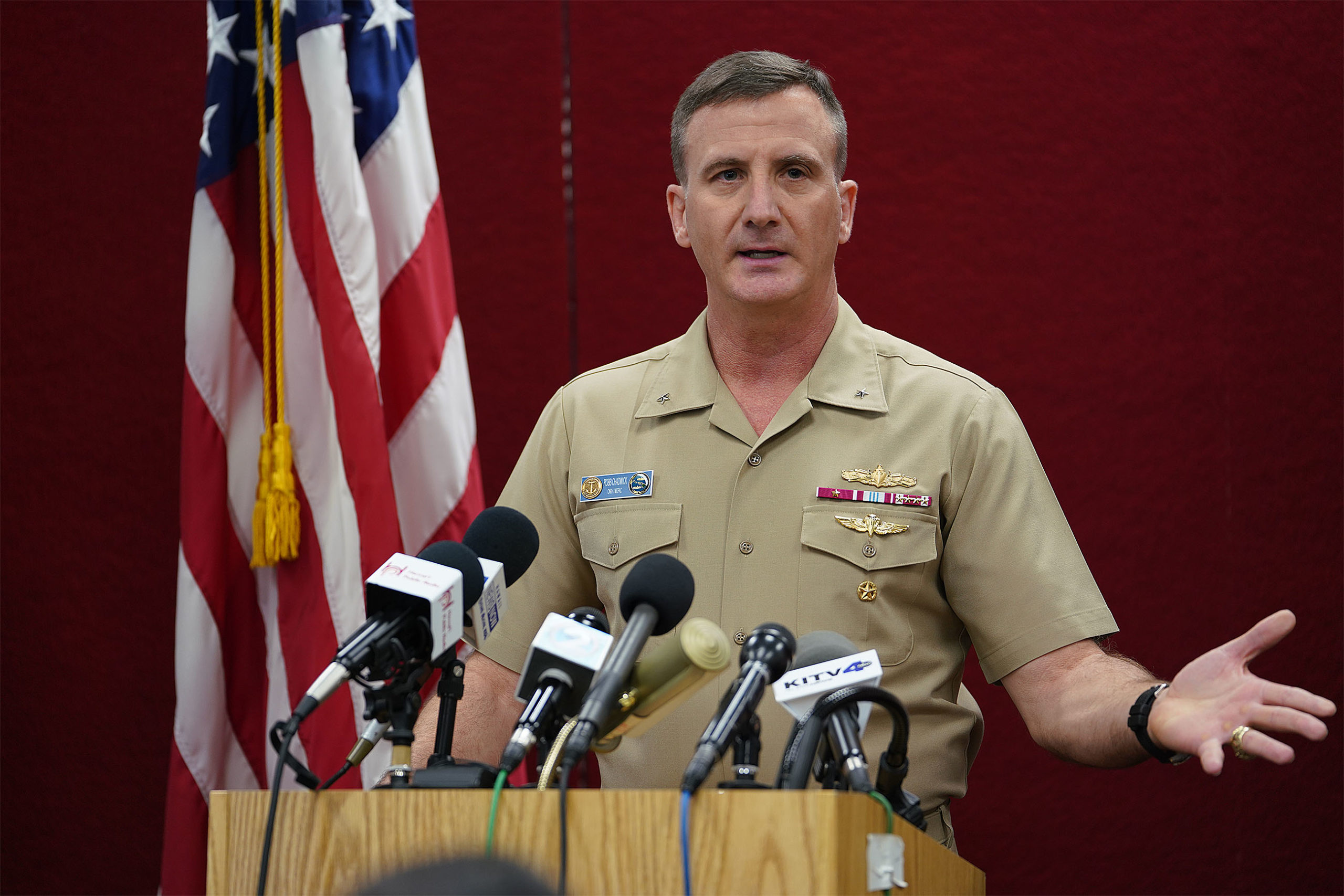 US Navy Rear Admiral Robert Chadwick addressed 2 questions and press conference was over.