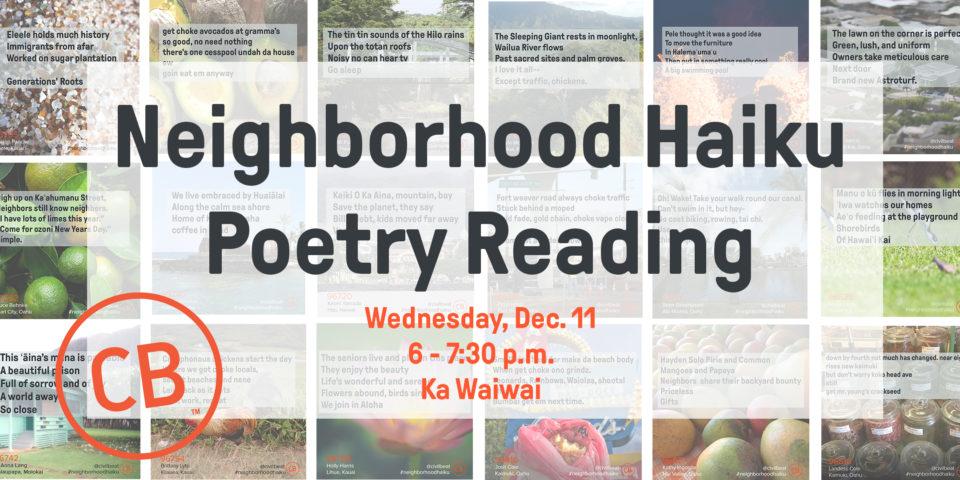 PSA – Event: Haiku Poetry Reading