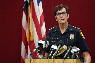 Honolulu Police Department Chief Susan Ballard speaks during Pearl Harbor shooting press conference.