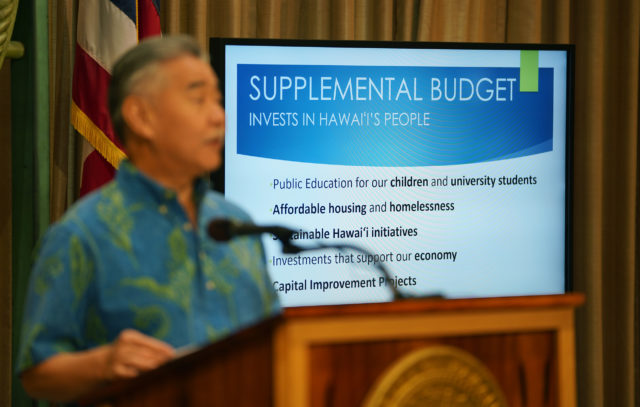 Governor David Ige speaks during press conference about Supplemental Budget3.