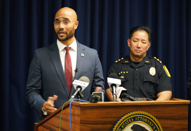 US District Attorney Kenji Price announces the conviction of Dustin Miyasato and addresses more during press conference announces joint operations with State and City and COunty law enforcement in recent criminal activities.