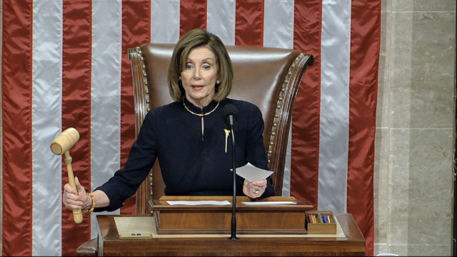 House Speaker Nancy Pelosi of Calif., announces the passage of the first article of impeachment, abuse of power, against President Donald Trump by the House of Representatives at the Capitol in Washington, Wednesday, Dec. 18, 2019. (House Television via AP)