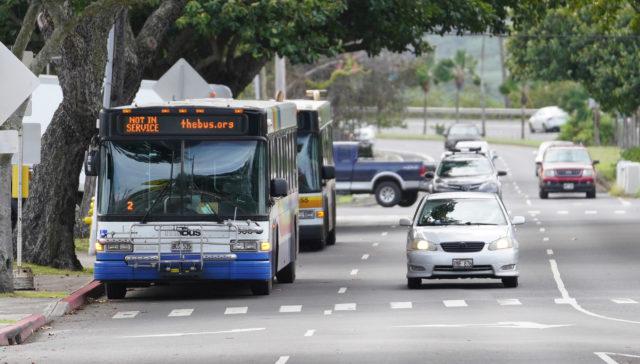 The Bus stops near Kailua.