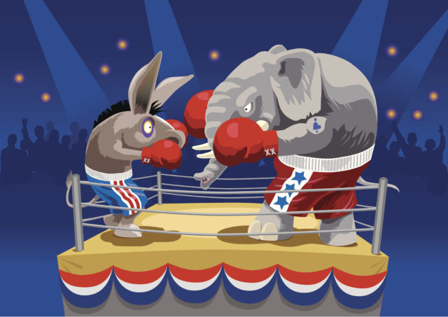 Elephant and Donkey going toe to toe on Election Day in the Ring of Public Opinion. Boxing ring in stadium is decorated with election bunting. Art on easily edited layers. Download also includes a large high-res jpeg.