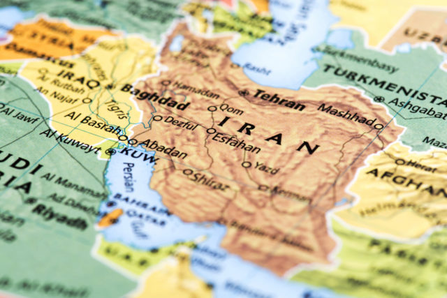 Map of Iran. Detail from the World Atlas.