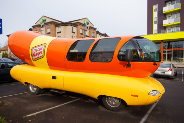 Eugene, OR, USA - November 12, 2015: Oscar Mayer Wienermobile makes an appearance at the University of Oregon in Eugene.