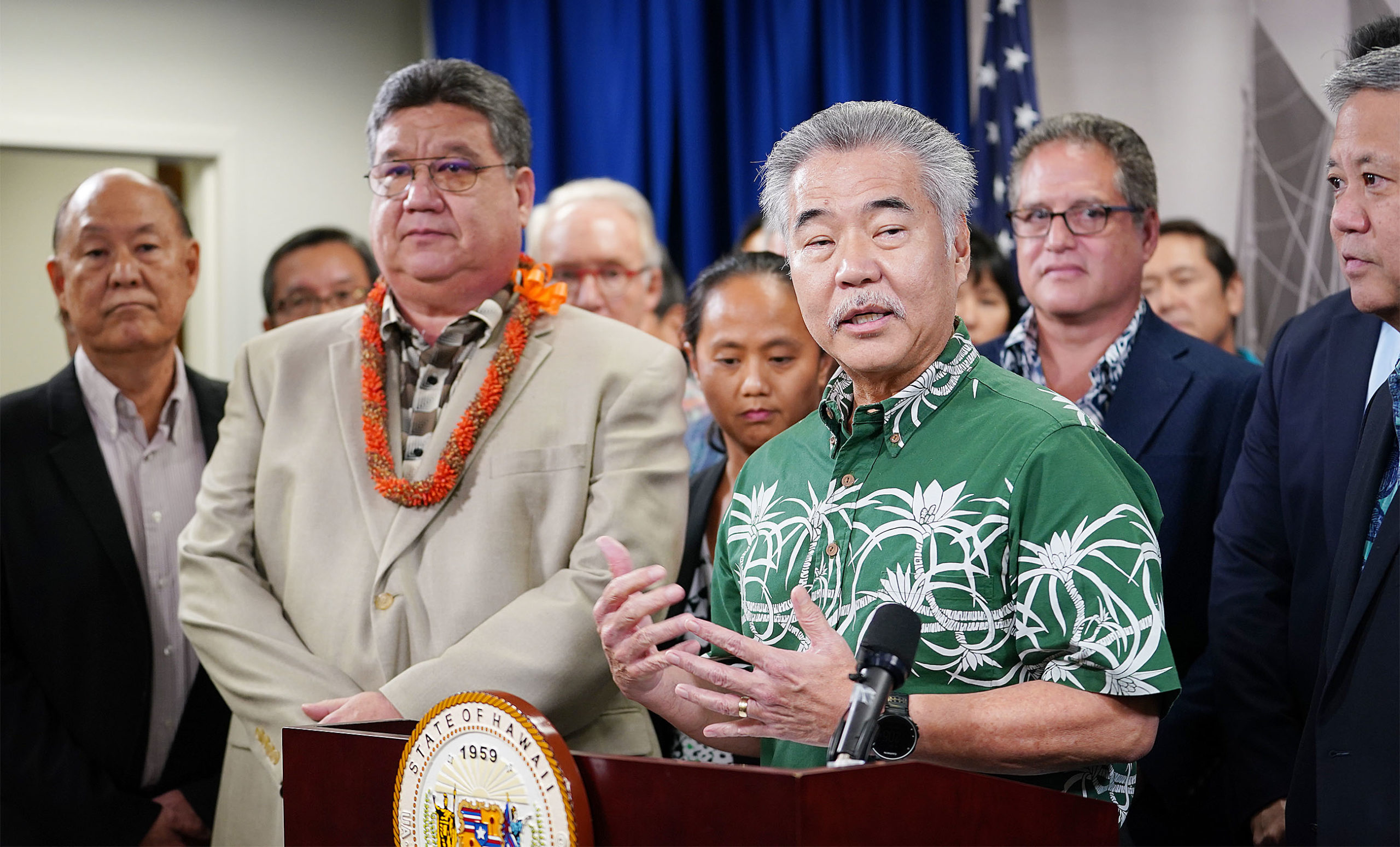 Governor David Ige speaks during joint House Senate press conference held at Capitol room 445.