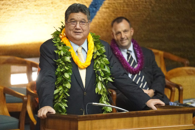 Opening Day of 2020 Legislature Senate President Ron Kouchi with Lt Gov and his wife during opening session.
