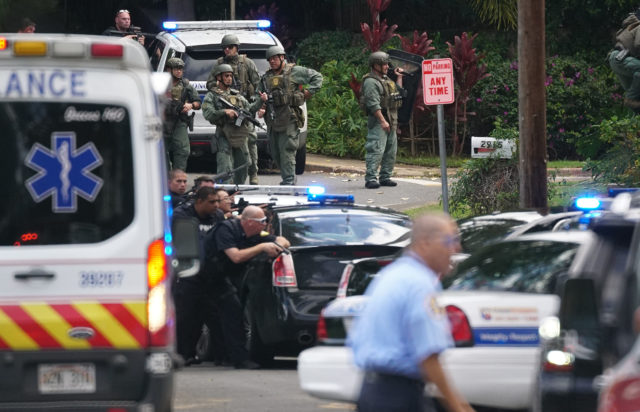 HFD and Honolulu Police Department officers respond to a shooting near La Pietra.