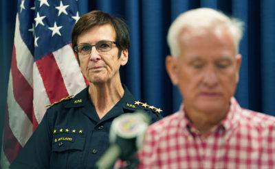 Honolulu Police Department Chief Susan Ballard listens as Mayor Caldwell speaks.