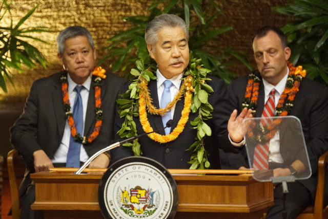 Governor David Ige State of the State address 2020 in the House chambers.