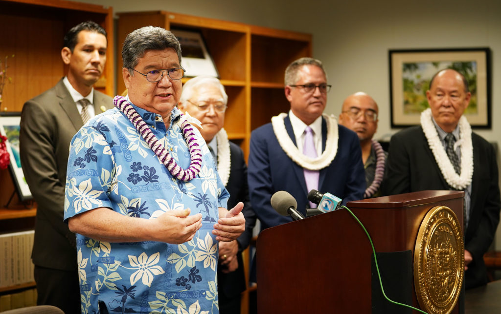 Senate President Ron Kouchi speaks to media and comments on Governor Ige's State of the State speech.