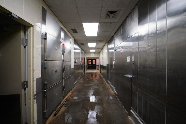 Medical Examiner morgue refrigeration area.