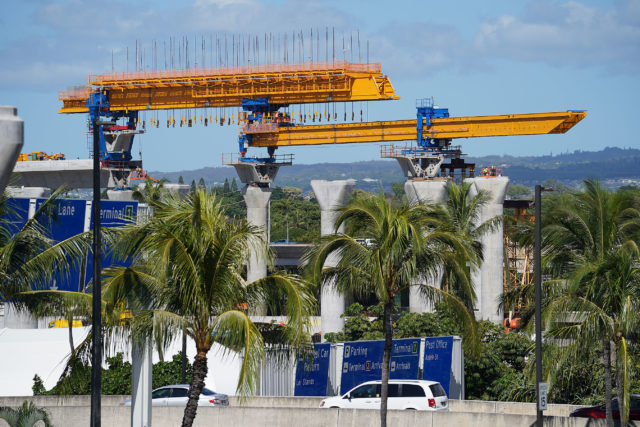 HART Rail guideway construction near the airport.