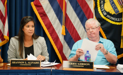 Honolulu Police Commission Chair Shannon Alivado and Commissioner Jerry Gibson.