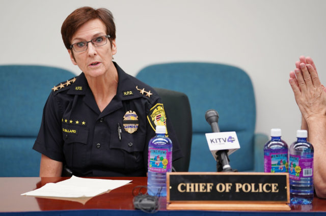 HPD Chief of Police Susan Ballard at the police commission meeting.