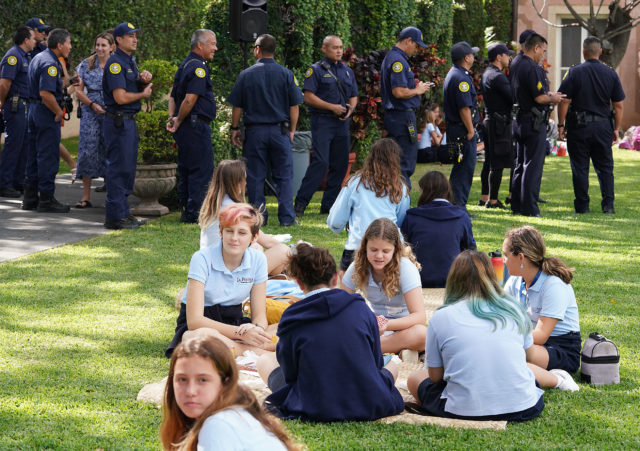 La Pietra Hawaii School for Girls hosts first Responders for lunch. HFD, EMS, HPD and residents lined up for lunch at La Pietra.