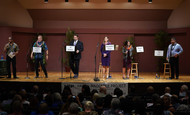 Kenneth Lawson introduces the 5 candidates running during the Honolulu Prosecutor Candidate 2020 at UH Orvis Auditorium.