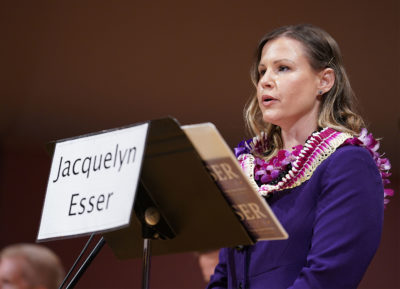 Candidate Jacquelyn Esser makes her introduction in the Honolulu Prosecutor Candidate Debate 2020 held at UH Manoa Orvis Auditorium.