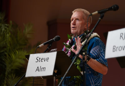 Candidate Steven Alm makes his introduction in the Honolulu Prosecutor Candidate Debate 2020 held at UH Orvis Auditorium.