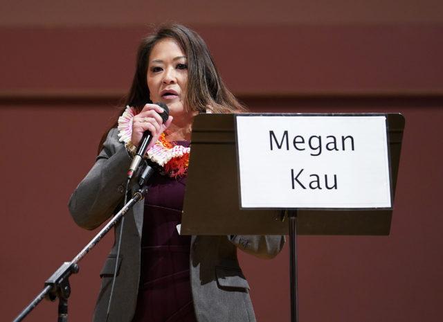Candidate Megan Kau participates in the Honolulu Prosecutor Candidate Debate 2020 held at UH Manoa's Orvis Auditorium.
