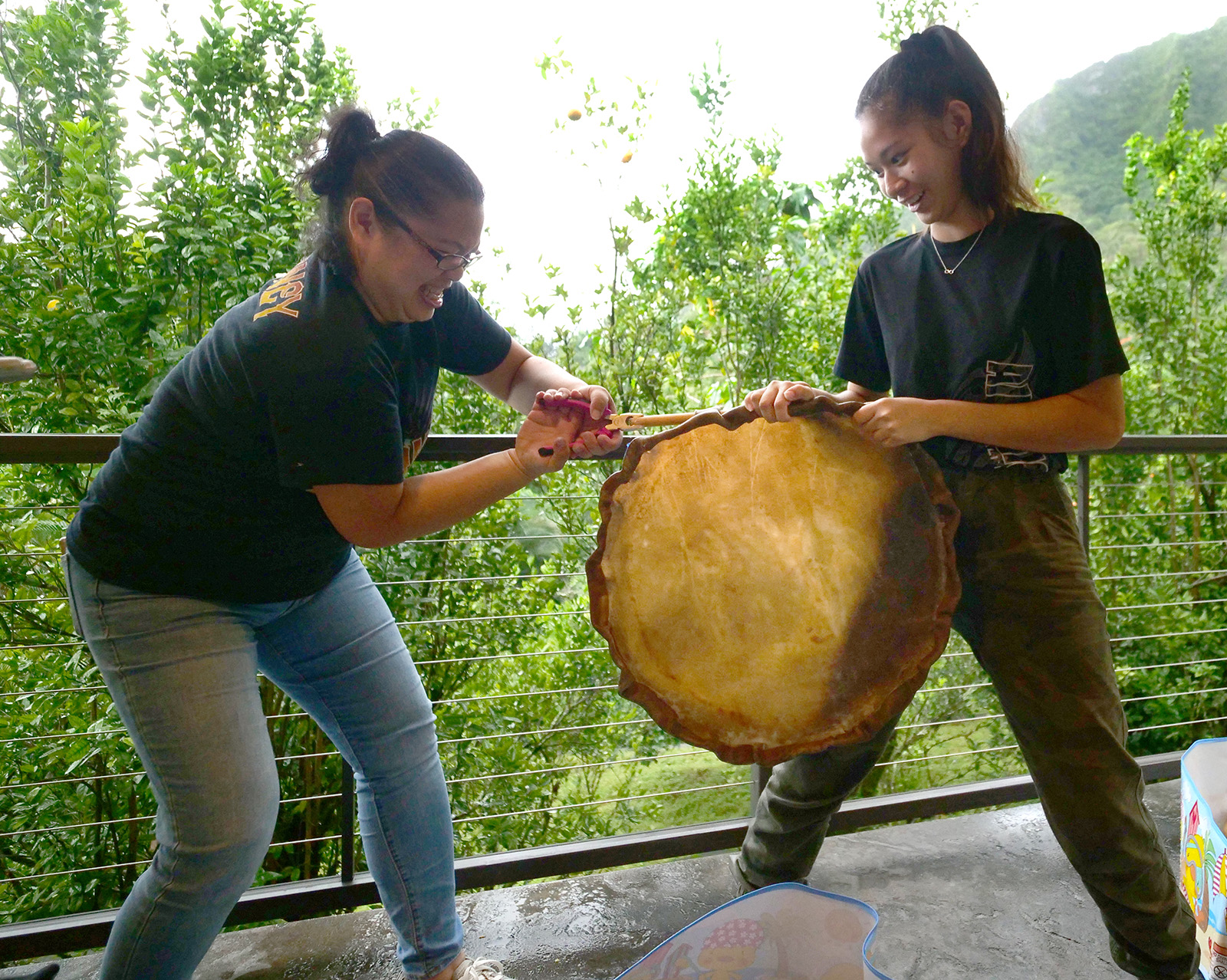 <p>Marilyn Asakura, left, and Nicole share a laugh as they struggle to pull wooden rods out from a cowhide in Kaneohe. The rods are used to help shape and secure the cowhides during the stretching process.</p>