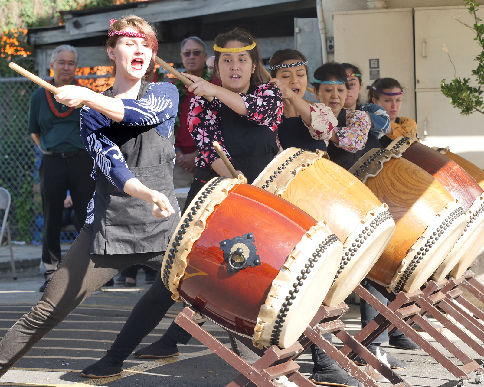 <p>The Taiko Center of the Pacific adult performance group plays on their newly skinned drums for the first time at a Kaimuki celebration for the Chinese New Year, Jan. 18.</p>