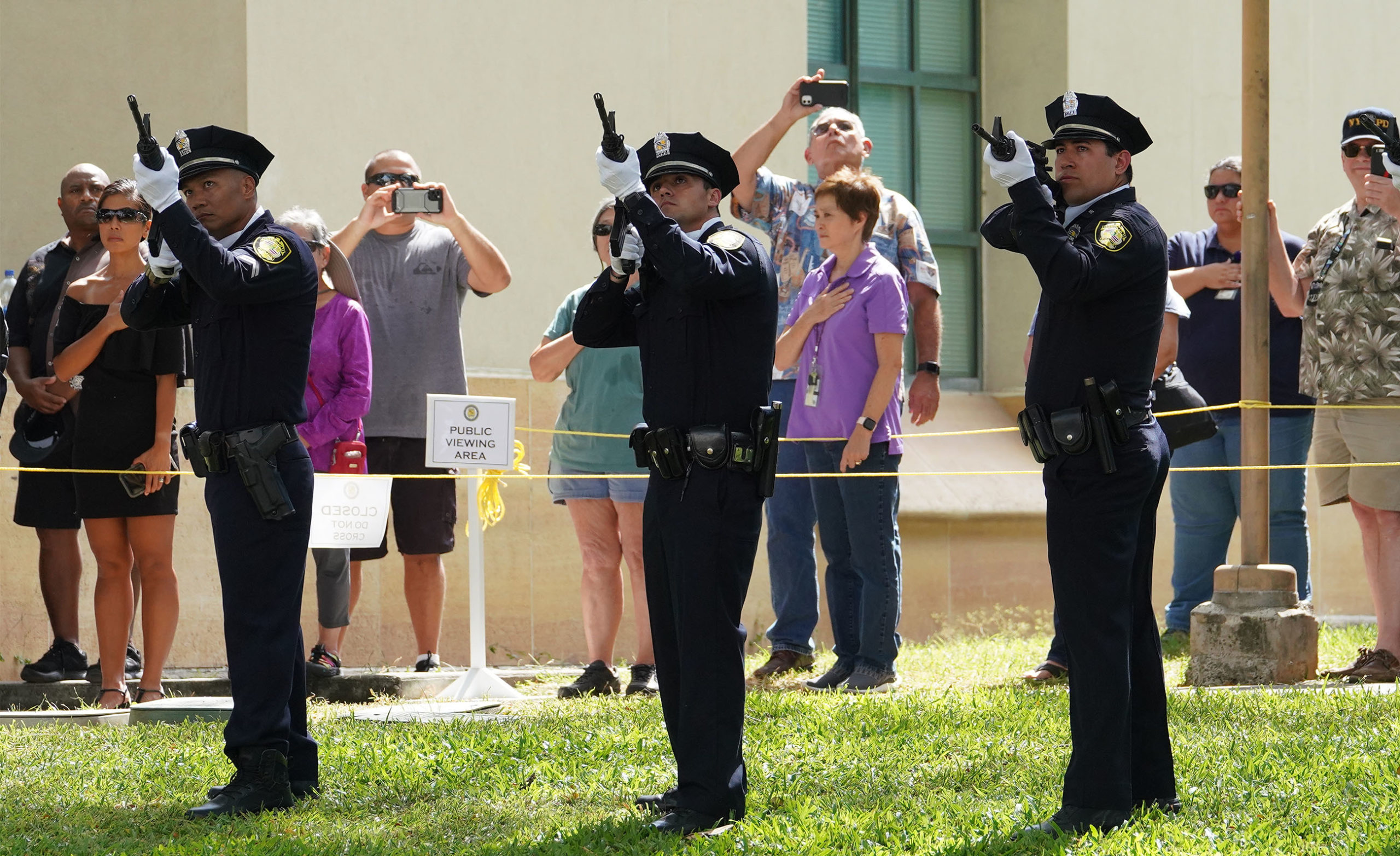 "<p>Honolulu police officers fired their rifles in remembrance of Officer Tiffany Enriquez, who was remembered as a ""special person"" by Malcolm Lutu, the president of State of Hawaii Organization for Police Officers. ""She'd light up the room,"" he added. Lutu served with her in the Waikiki district.</p>"