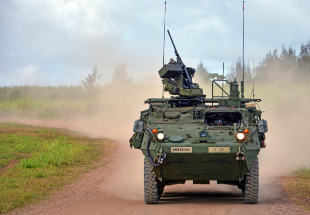 SCHOFIELD BARRACKS, Hawaii- U.S. Army Soldiers from the 71st Chemical Company, 303rd Ordnance Battalion (EOD), 8th Military Police Brigade, 8th Theater Sustainment Command, navigate a Nuclear, Biological, Chemical Reconnaissance Vehicle during the company's weeklong Stryker Gunnery training held Oct. 10-14, here.