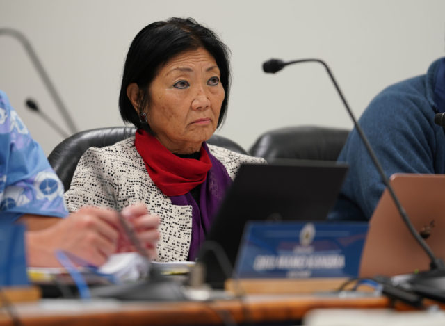 Senator Sharon Moriwaki listens to tesimony in a housing hearing at the Capitol.