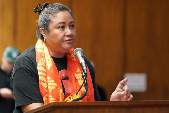 Healani Sonoda-Pale testifies during a Water, Land Hawaiian Affairs hearing at the Capitol.