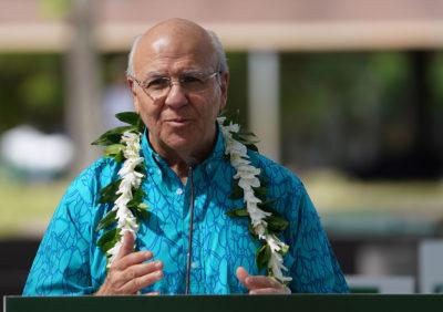 Rick Blangiardi announces his run for Mayor of Honolulu at Old Stadium Park.