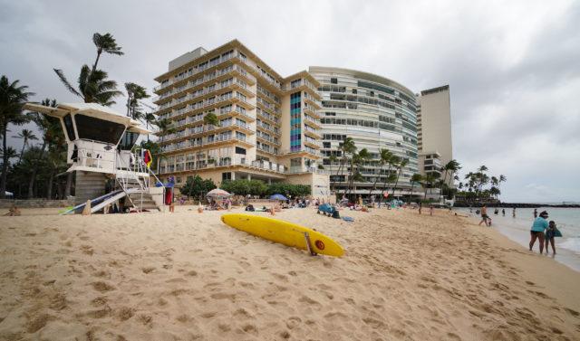 New Otani Kaimana Beach Hotel and right, San Souci condominiums.