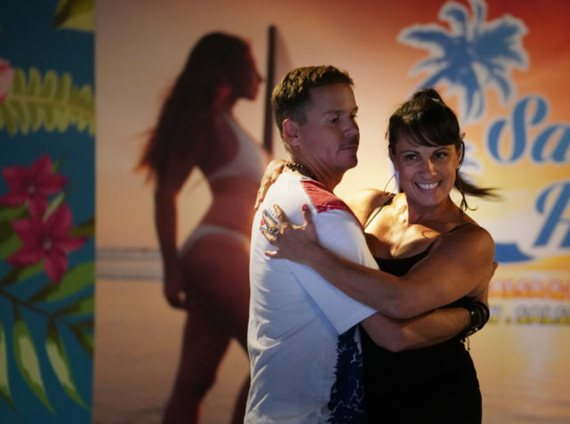Dancers Mark Englert and partner Maija Salma dance during rehearsal for Salsa in Hawaii: The Hawaii Salsa and Bachata Congress event held at the District Nightclub.