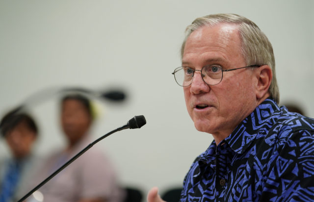 Hawaii Tourism Authority President and CEO Chris Tatum during a WAM hearing concering funding of future COVID-19 concerns.