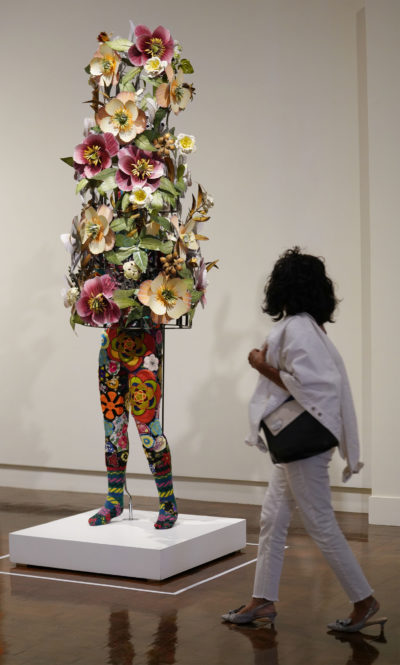Soundsuit 2008 by Nick Cave. Made with Fabric, fiberglass and metal.