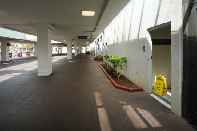 Entrance to the womens restroom located between the arena entrance and the Blaisdell Exhibition Hall.