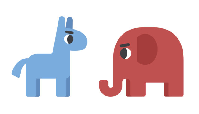 Democrat donkey facing republican elephant. Political illustration in cute cartoon flat style.