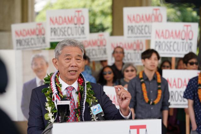 Acting Prosecutor Dwight Nadamoto outside Circuit Court, announcing his run for prosecutor.