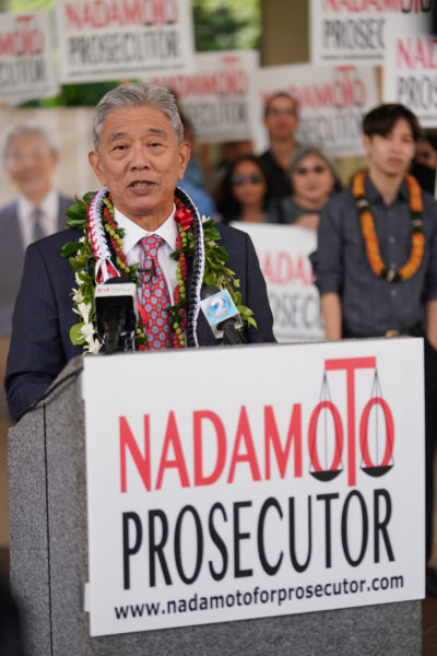 Acting Prosecutor Dwight Nadamoto announces run for prosecutor.