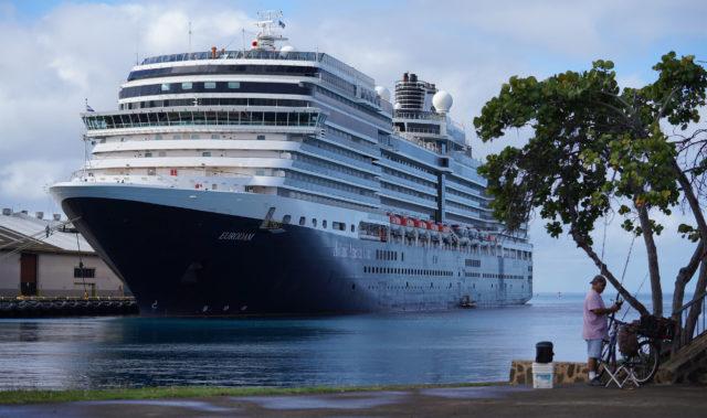 Holland American Line Eurodam cruise ship at Honolulu Harbor.