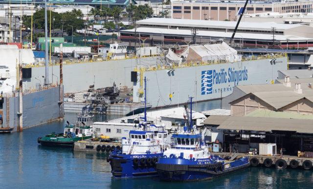 Pacific Shipyards International / Navatek equipment at Honolulu Harbor Pier 24.