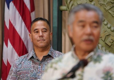 Governor David Ige announces the supplemental emergency proclaimation and the appointment of HIEMA General Ken Hara to incident commander before COVID-19 / Coronavirus outbreak.