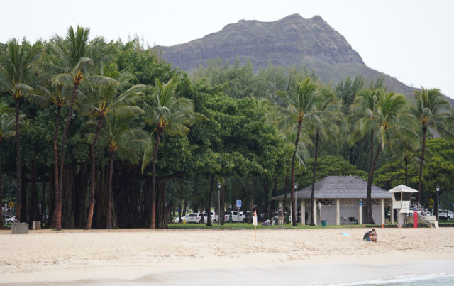 Waikiki Beach and Diamond Head with very few people.