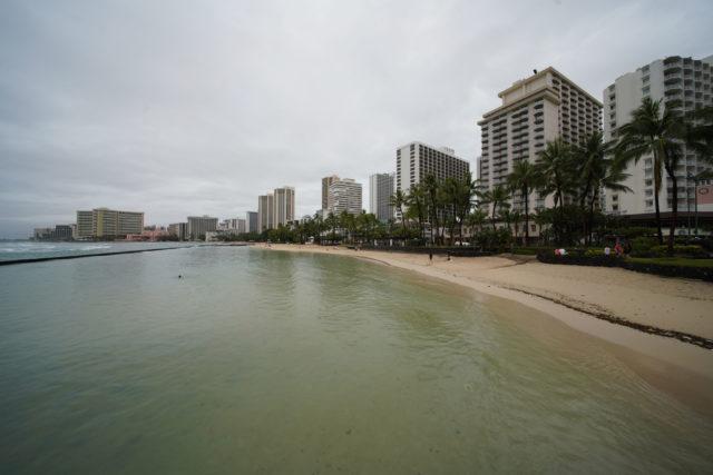 Waikiki Beach empty. 2020