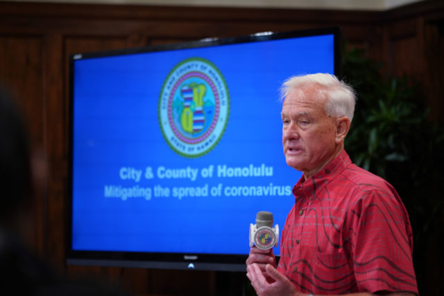 Mayor Kirk Caldwell gives a short presentation on what city essential services will be working during the Coronavirus/COVID19 outbreak on Oahu.