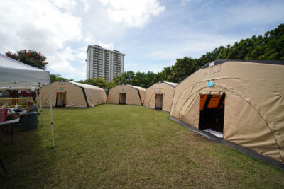 HONU Stadium Park homeless tents. HONU has a portrable shower/bath trailer that gives residents the opportunity to get cleaned up.